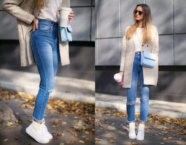 Луки с брюками и джинсами осень-зима 2019-2020: с дырками синие