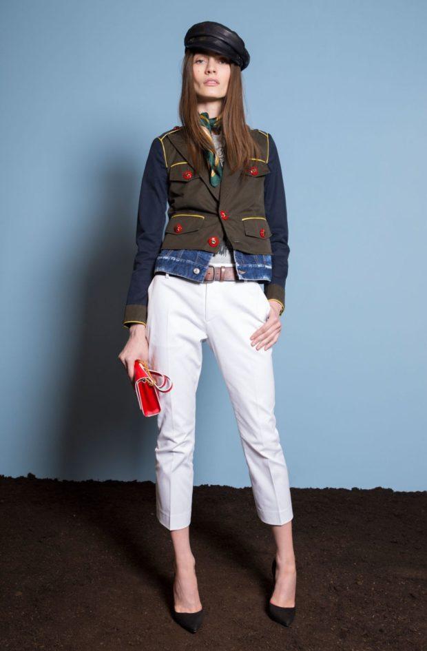 Луки с брюками и джинсами осень-зима 2019-2020: белые
