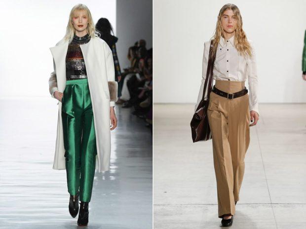 Луки с брюками и джинсами осень-зима 2019-2020: зеленые и бежевые
