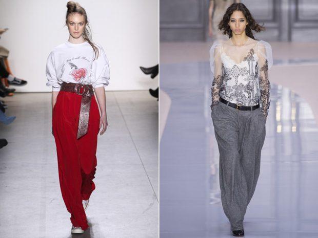 Луки с брюками и джинсами осень-зима 2019-2020: красные и серые