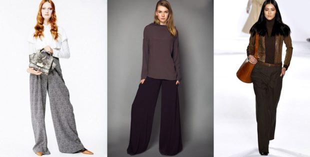Луки с брюками и джинсами осень-зима 2019-2020: широкие серые и черные