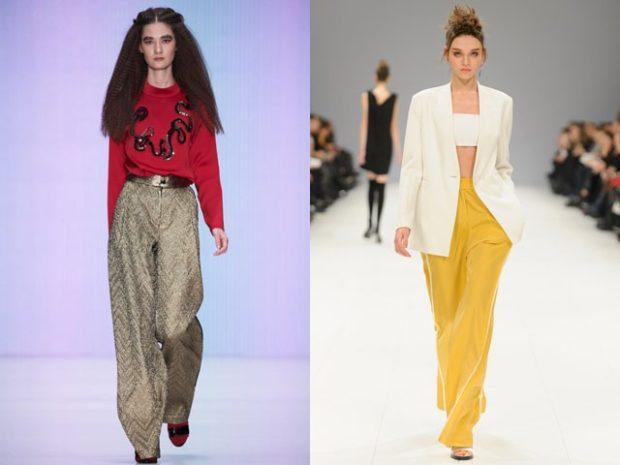 Луки с брюками и джинсами осень-зима 2019-2020: широкие серые и желтые