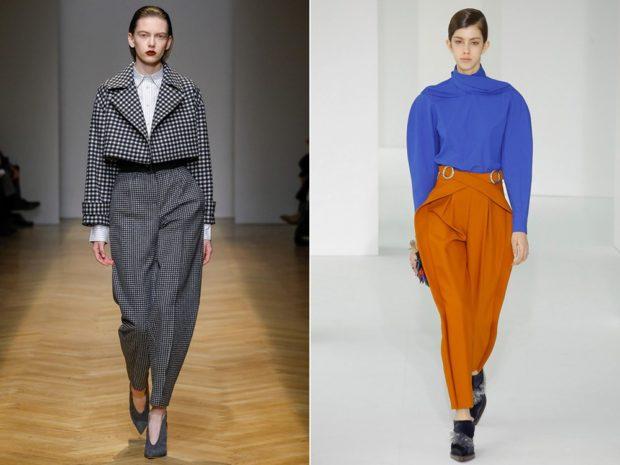 Луки с брюками и джинсами осень-зима 2019-2020: широкие серые и оранжевые