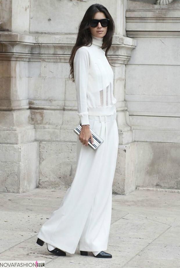 Луки с брюками и джинсами осень-зима: широкие белые