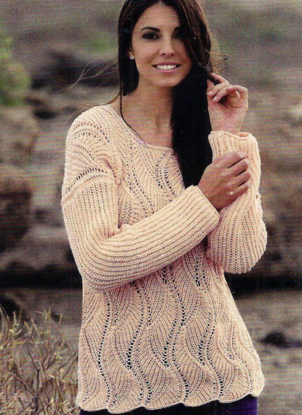 Луки осень-зима: свитер бежевый