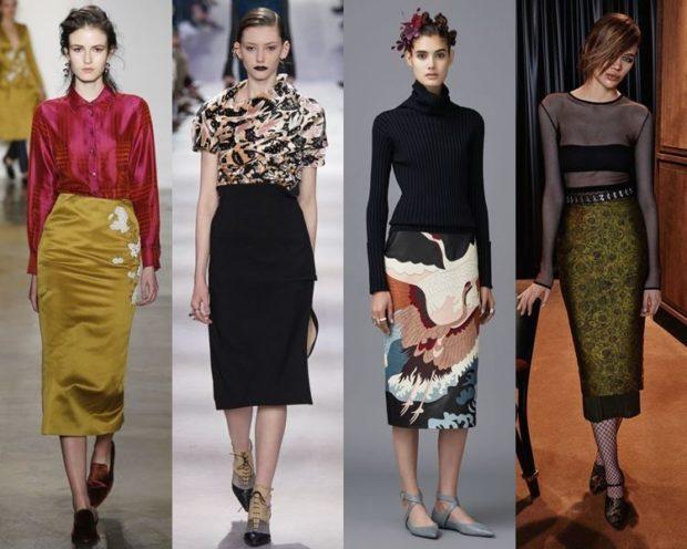 Луки осень-зима: юбки миди зеленая черная в принт