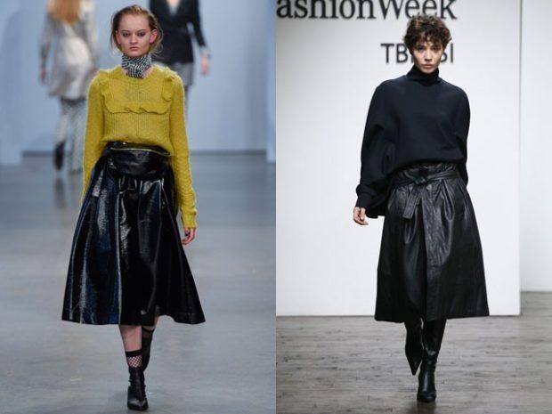 Луки осень-зима: кожаные миди юбки черные