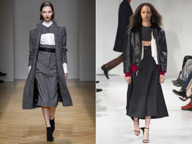 Модные луки осень-зима: юбки миди офисные