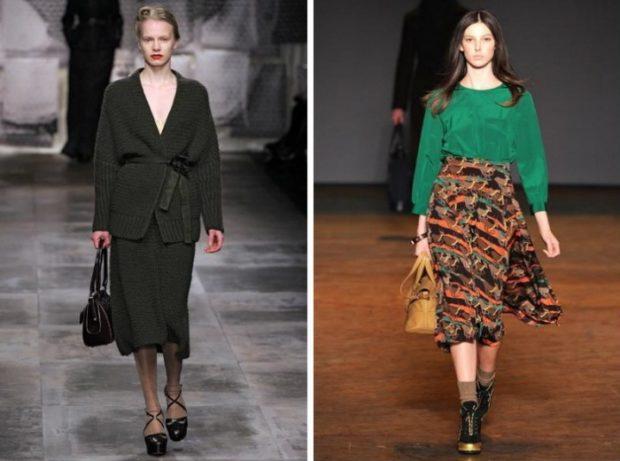 Модные луки осень-зима: юбки миди черная и в рисунок