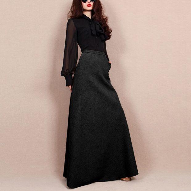 Модные луки осень-зима: юбки макси черная