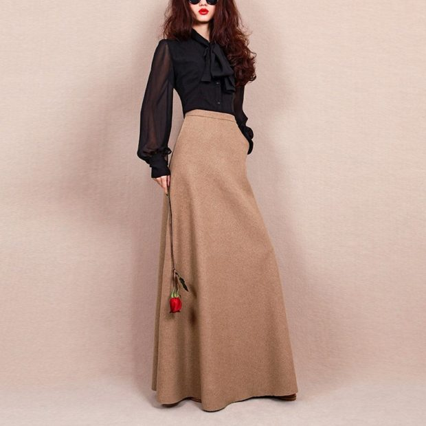 Модные луки осень-зима: юбки макси бежевая