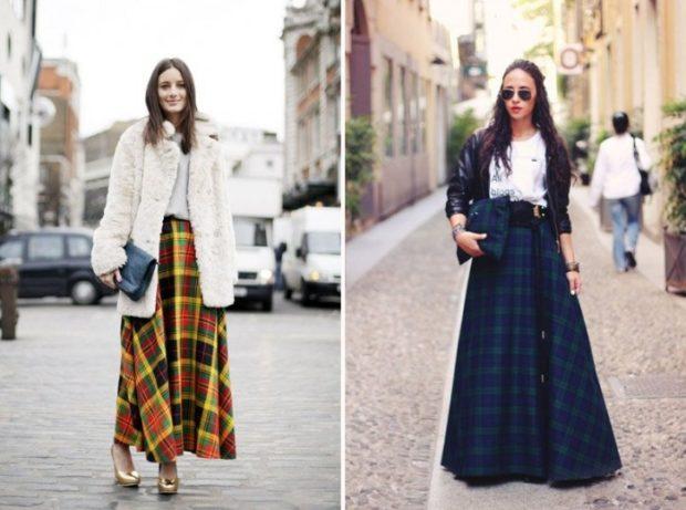 Модные луки осень-зима: юбки макси клетчатая
