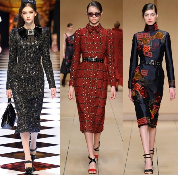 Модные луки: платье серое красное в рисунок