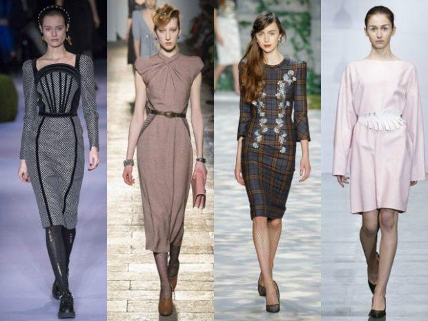 Модные луки осень-зима: платье серое бежевое в рисунок