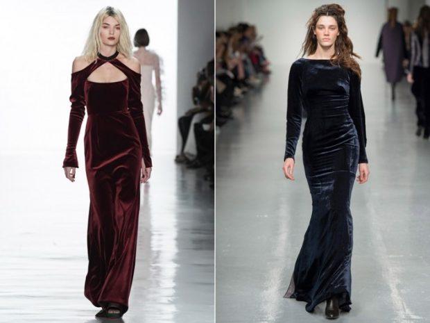 Модные луки осень-зима: платья длинные