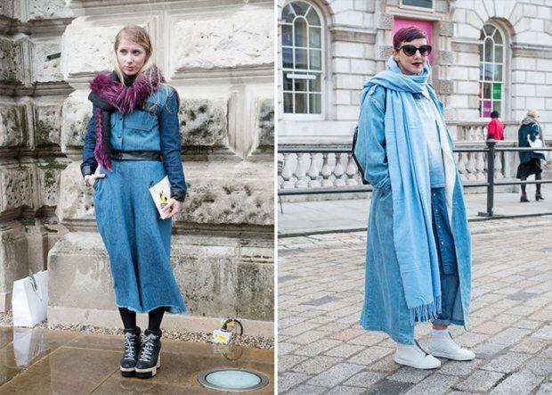 луки осень-зима 2019-2020: синее пальто макси платье джинсовое
