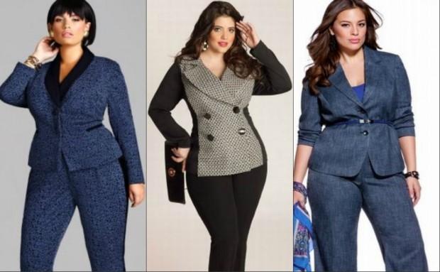 Мода для полных женщин 2020-2021 фото за 40 лет:костюмы брючные