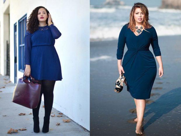 Мода для полных женщин 2020-2021 фото за 40 лет: платье синее коротенькое миди по фигуре