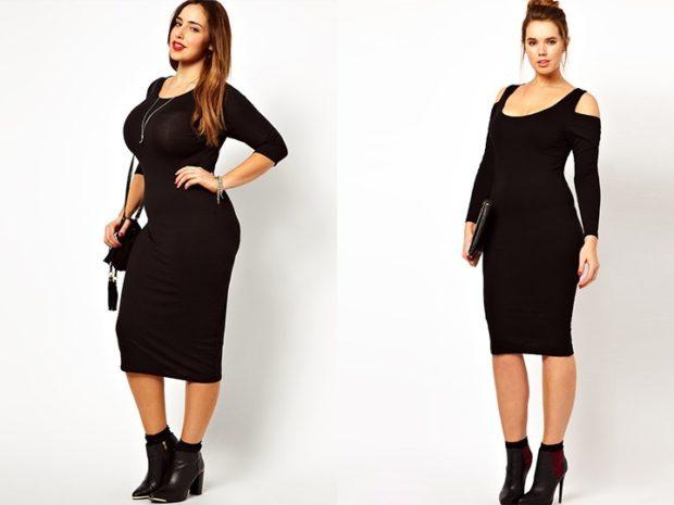 Мода для полных женщин 2020-2021 фото за 40 лет: платья черные миди рукав длинный