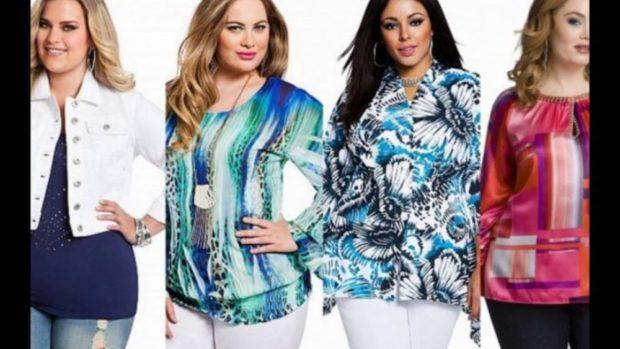 Мода для полных женщин 2020-2021 фото за 40 лет: блузки цветные