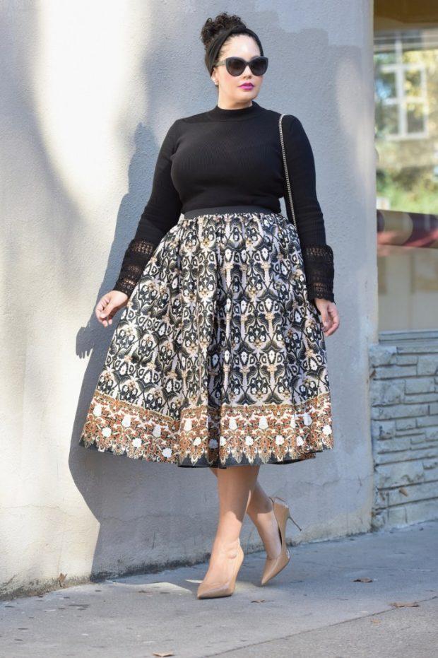 Мода для полных женщин 2020-2021 фото за 40 лет: юбка пышная кофта черная миди
