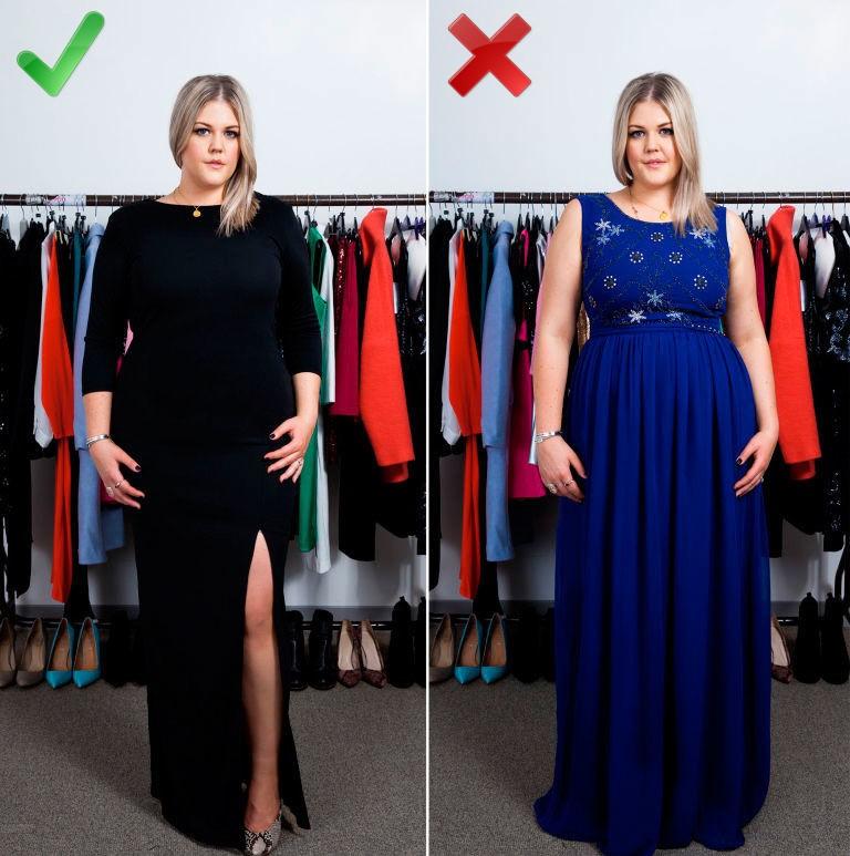 Мода для полных женщин 2018 фото за 40 лет: черное платье с разрезом синее