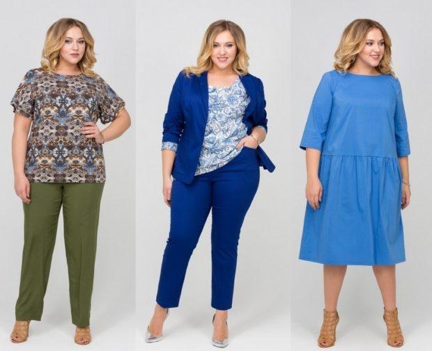 Мода для полных женщин 2020-2021 фото за 40 лет: брюки под блузки платья