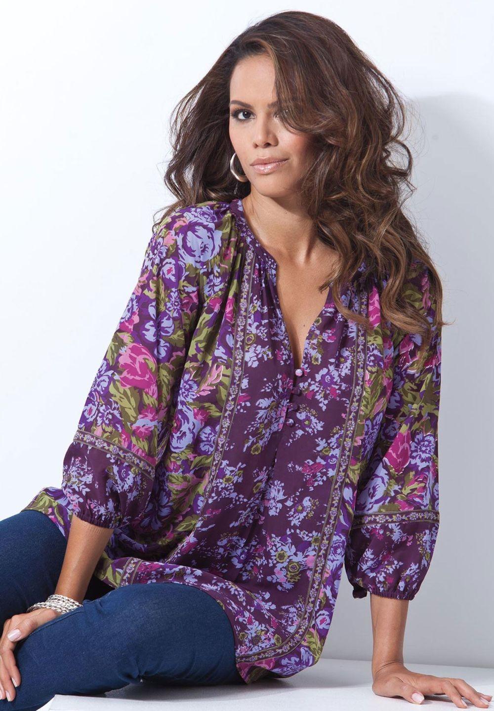 Мода для полных женщин 2018 фото за 40 лет: цветная блузка