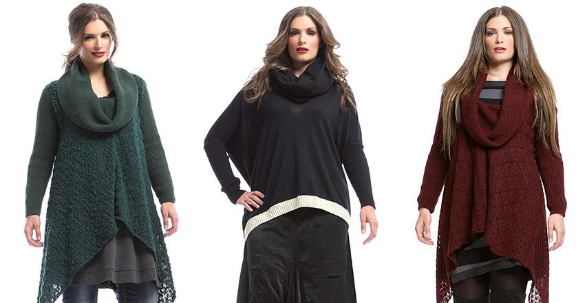 Мода для полных женщин 2018 фото за 40 лет: кофты длинные зеленая черная бордовая