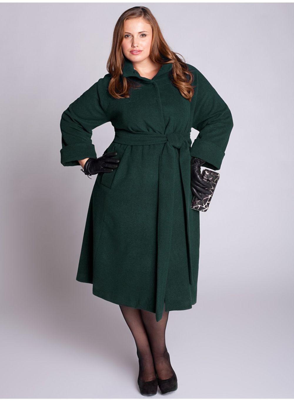 Мода для полных женщин 2018 фото за 40 лет: пальто зеленое миди