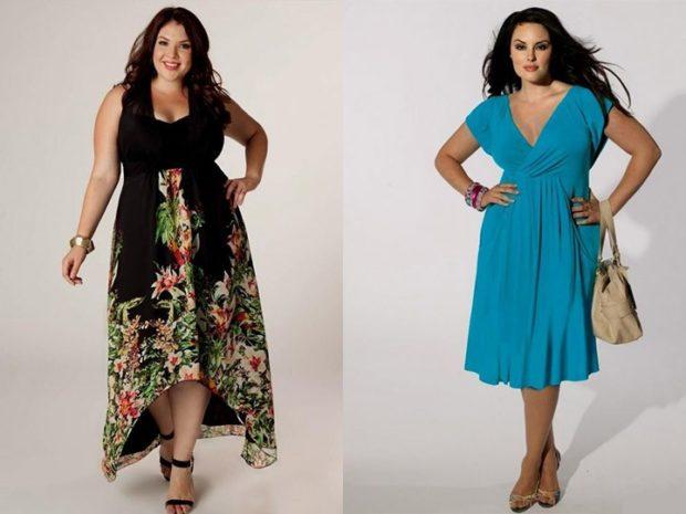 Мода для полных женщин 2020-2021 фото за 40 лет: платья летние черное в цветы голубое