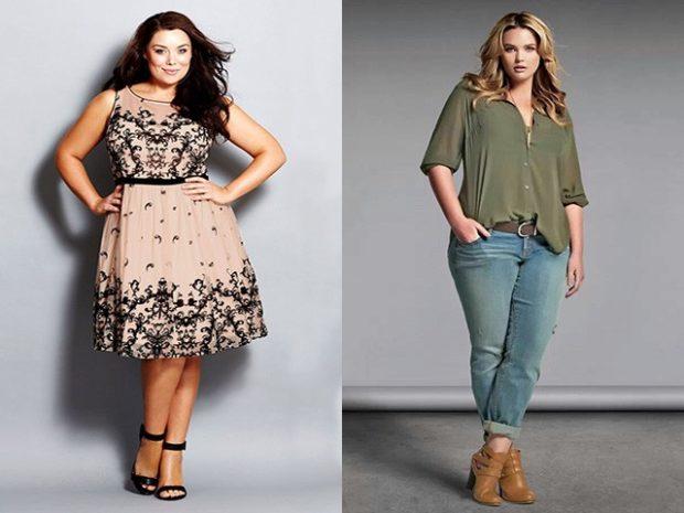 Мода для полных женщин 2020-2021 фото за 40 лет: платье бежевое джинсы рубашку