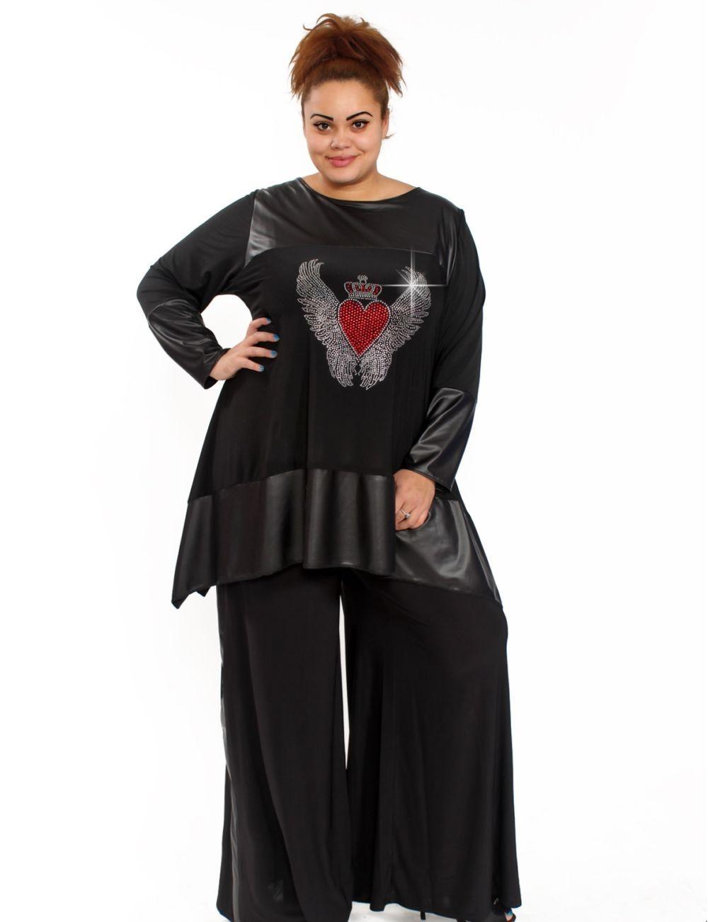 Мода для полных женщин 2018 фото за 40 лет: черные брюки широкие