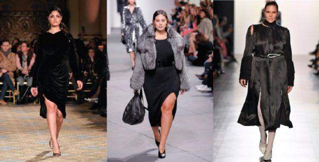 Мода для полных женщин 2020-2021 фото за 40 лет: платье миди черное шубки
