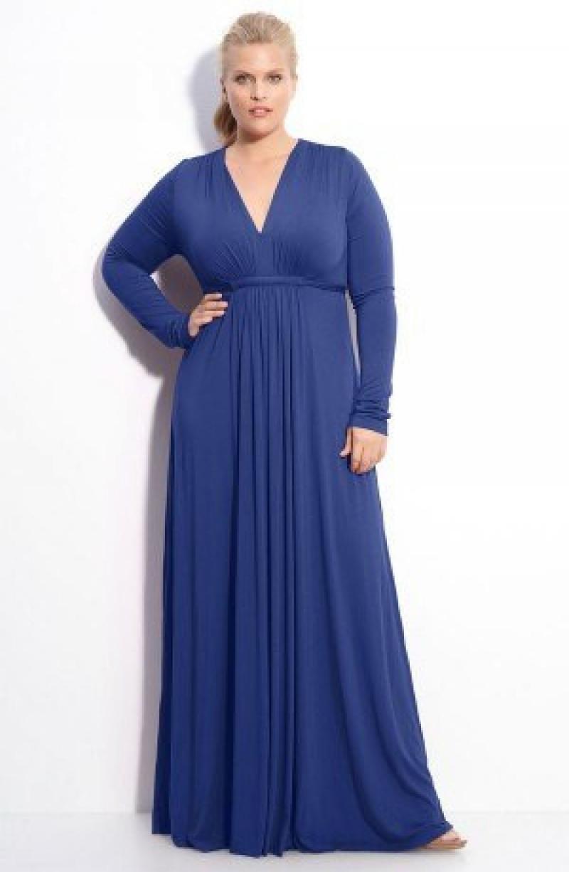Мода для полных женщин 2018 фото за 40 лет: синее в пол