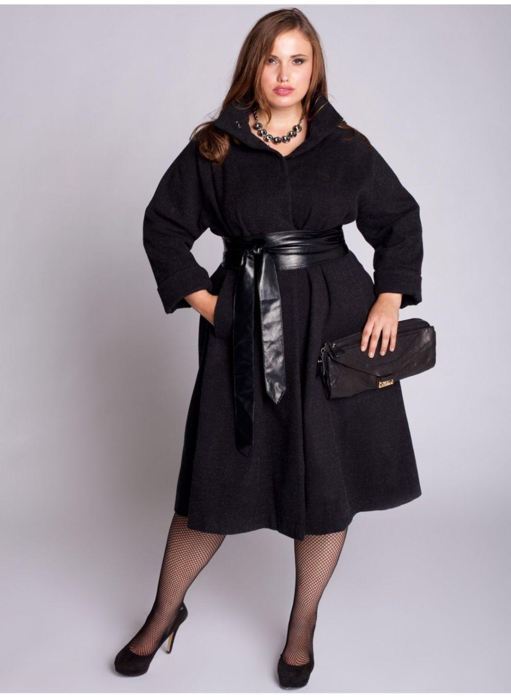 Мода для полных женщин 2018 фото за 40 лет: пальто миди черное с поясом