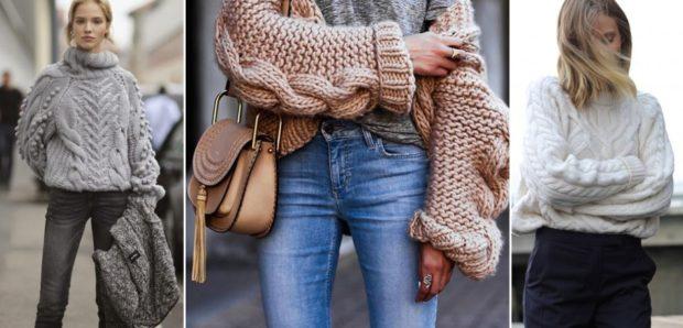 женские свитера 2019-2020: крупная вязка серый бежевый