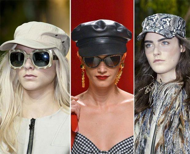 Модные головные уборы весна лето 2018: кепка бежевая кожаный берет кепка крокодил