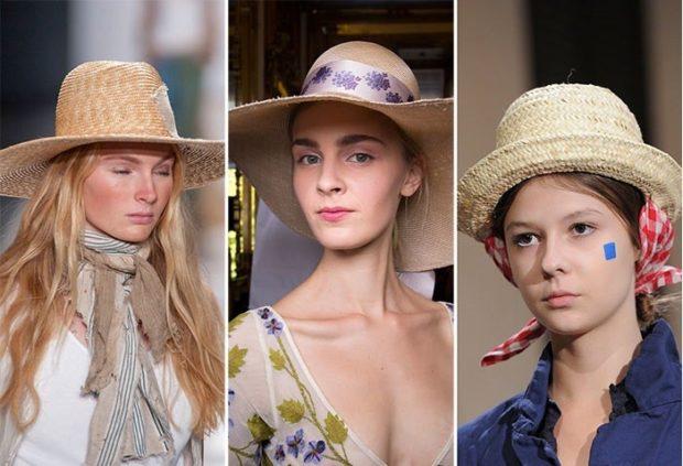 Модные головные уборы весна лето 2018: соломенные шапки с полями
