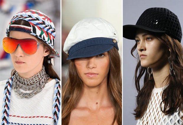 головные уборы весна лето 2018: кепки шапки с козырьком кепки в принт черная