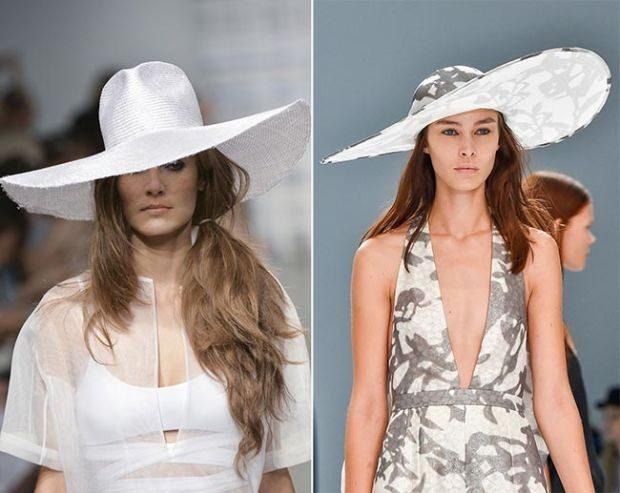 Модные головные уборы весна лето 2018: белая с большими полями
