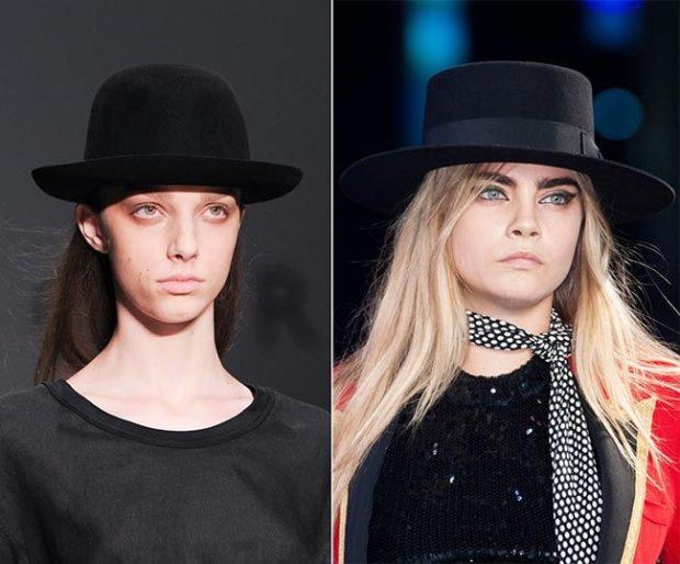 Модные головные уборы весна лето 2018: черная с полями фетровая