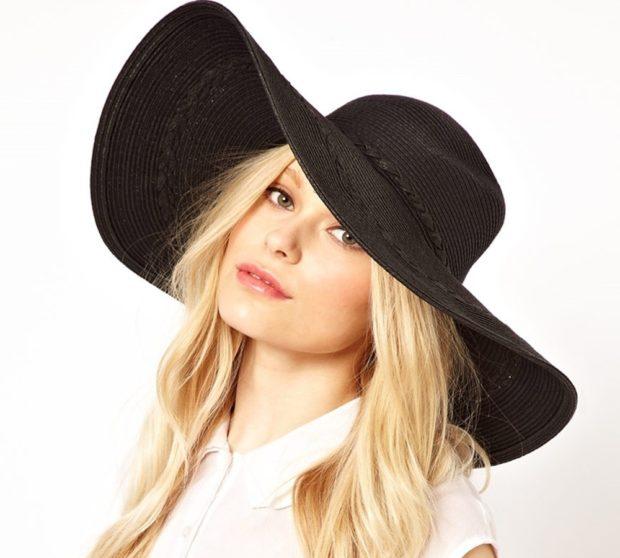 Модные головные уборы весна лето 2018: шляпа с полями черная
