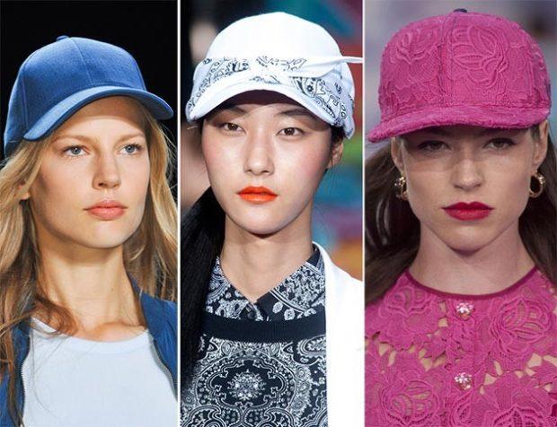 головные уборы на лето 2018: кепки голубая белая розовая