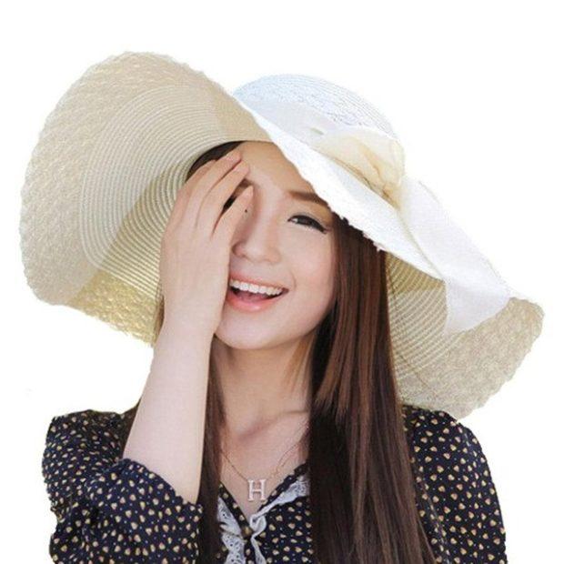 Модные головные уборы весна лето 2018: шляпа с полями белая с бантом