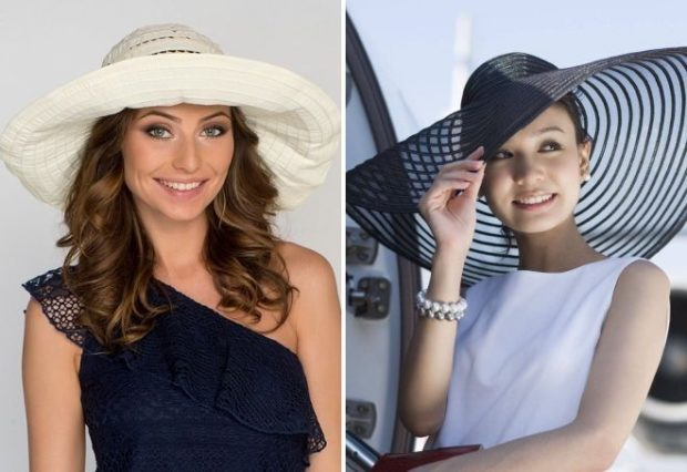 Модные головные уборы весна лето 2018: шляпа с полями белая черная сетка