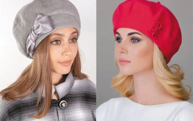 Модные головные уборы весна лето 2018: береты серый красный  с бантиками