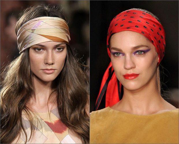 головные уборы на лето для женщин: ретро-повязки коричневая красная в принт
