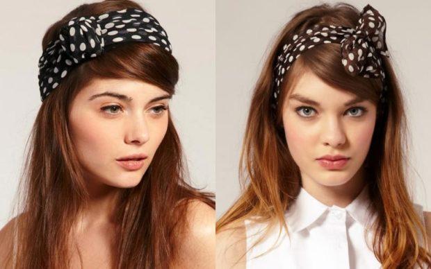 головные уборы на лето для женщин: ретро-повязки черно-белые