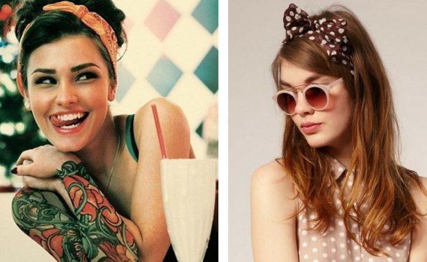 головные уборы на лето для женщин: ретро-повязки оранжевая коричневая в белый горох